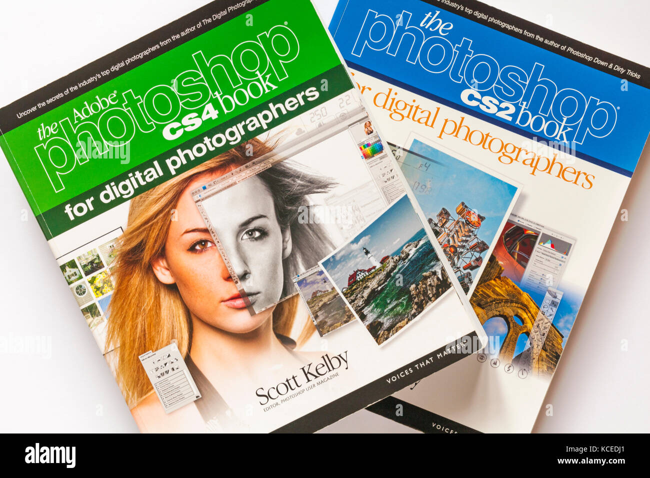 Photography books - the Adobe photoshop CS4 book for digital photographers and the photoshop CS2 book by Scott Kelby - Stock Image