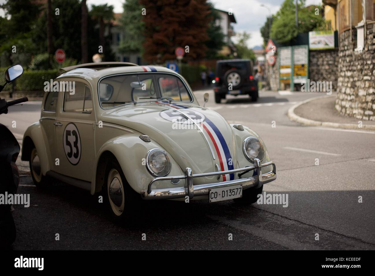 Volkswagen beetle with Herbie livery. Taken in Italy near lake como - Stock Image