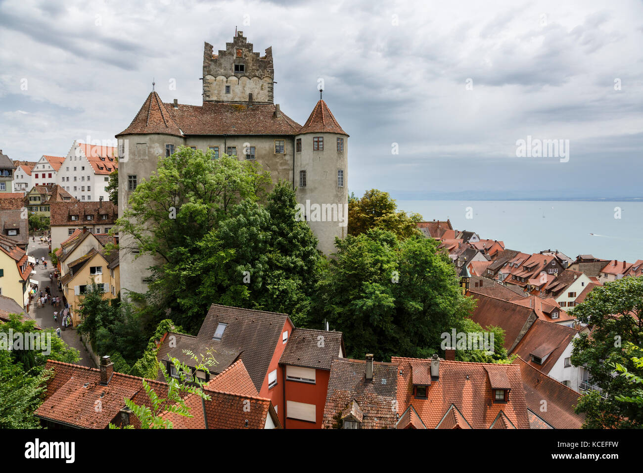Meersburg's Old Castle Castle (Altes Schloss) and Lake Constance (Bodensee), Baden-Württemberg, Germany Stock Photo