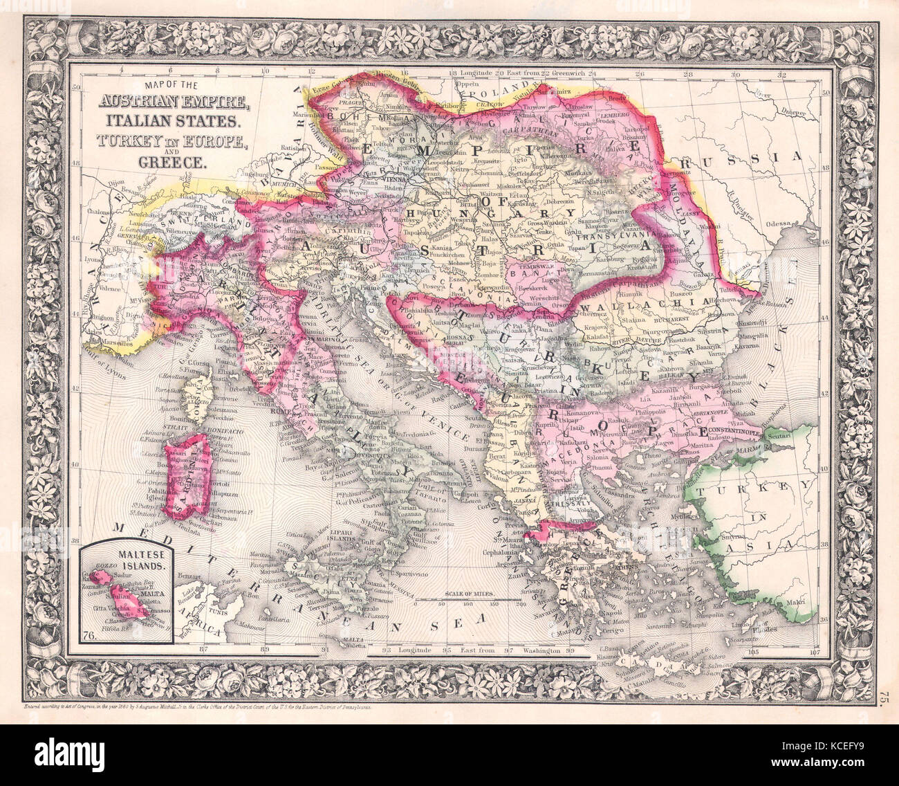 1864, Mitchell Map of Italy, Greece and the Austrian Empire - Stock Image