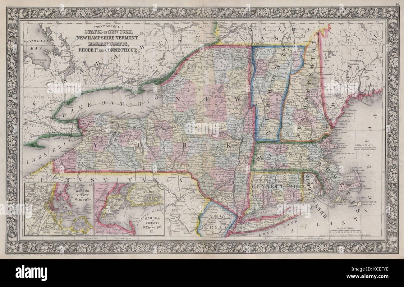 Map Of New York And Vermont.1864 Mitchell Map Of New York Massachusetts Connecticut Rhode