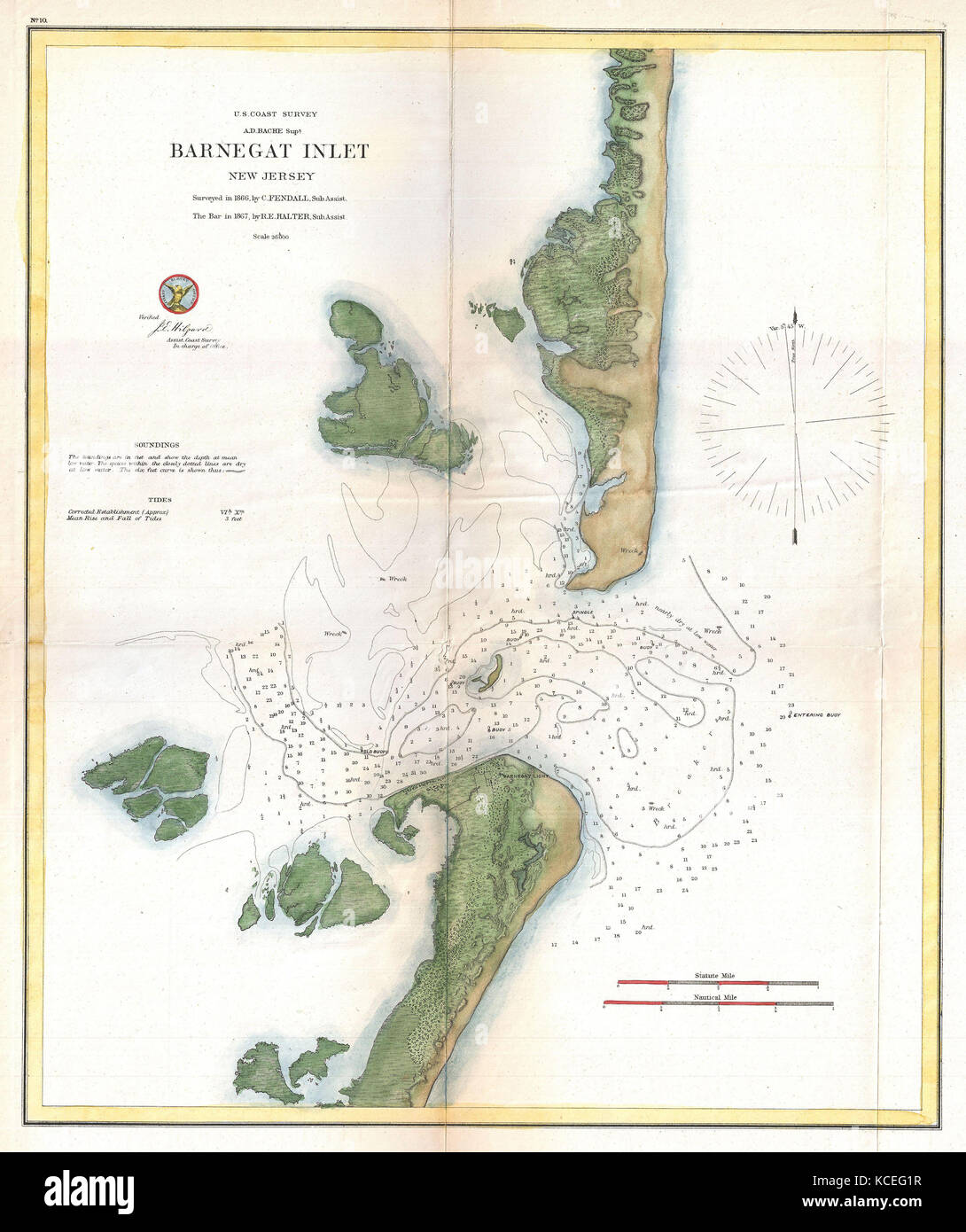 1865 Us Coast Survey Map Of Barnegat Inlet Long Beach Island - Map-of-us-in-1865