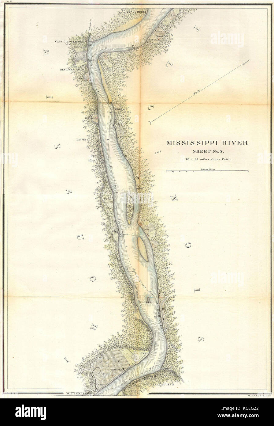1865, U.S.C.S. Map of the Mississippi River 78 to 98 miles above Cairo, Illinois Stock Photo