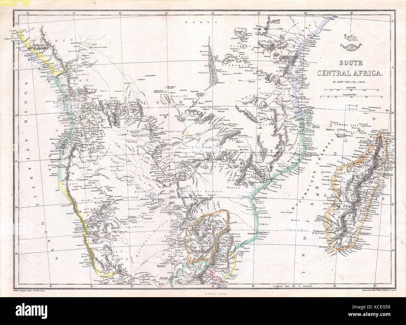 1868, Dispatch, Weller Map of South Central Africa, Angola, Botswana, Tanzania, etc - Stock Image