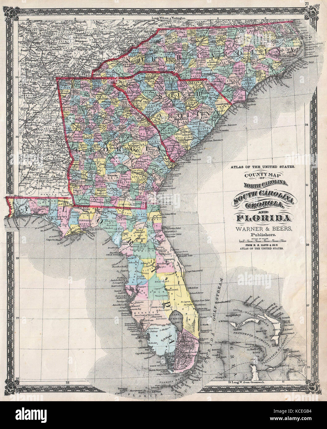 Map Of Florida Georgia.1874 Beers Map Of Florida Georgia North Carolina And South Stock