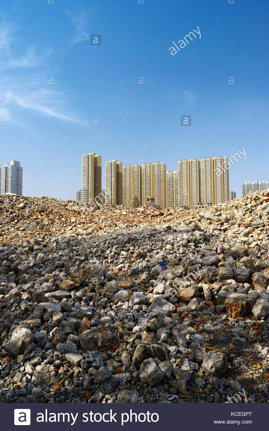 Inner city redevelopment Taiyuan city, Shanxi Province, China. Demolition debris from old hutong ghetto clearance. - Stock Image