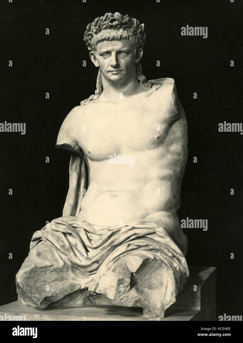 Claudius Roman emperor, marble statue - Stock Image