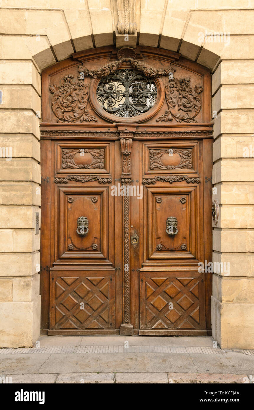 Historical door, Avignon, Provence, France - Stock Image