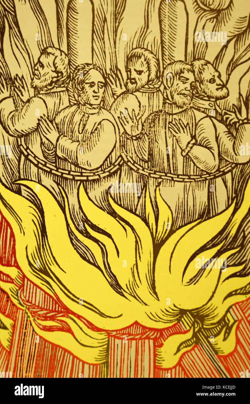 Engraving depicting the persecution by burning of Protestant Martyrs in England during the rule of the Catholic - Stock Image