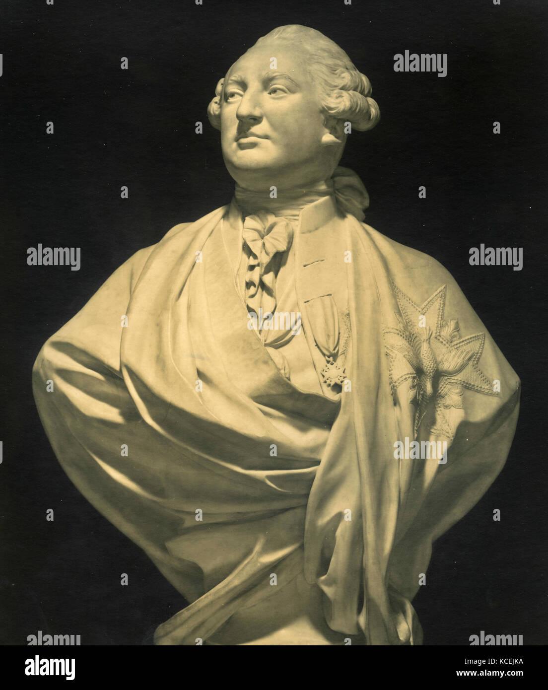 Louis XVI, marble bust statue by JA Houdon, 1920 - Stock Image