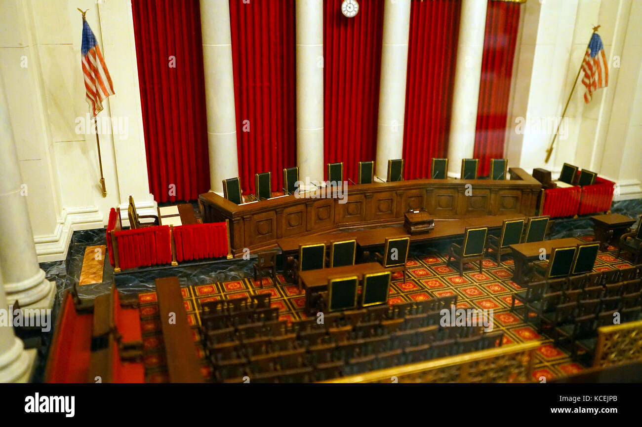 Model of the United States Supreme court interior of the courtroom. Washington DC 2016 - Stock Image