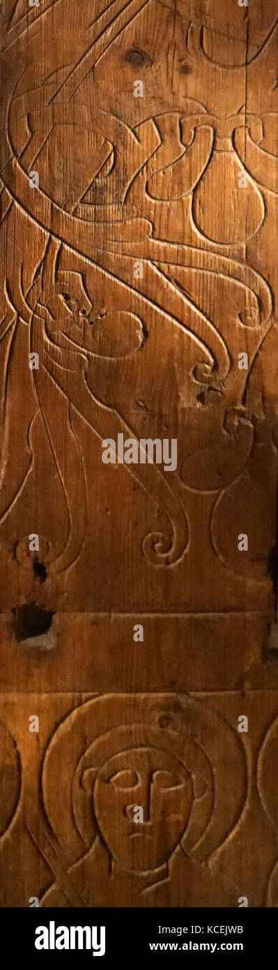 Flataunga panels. Carved panels, (probably) depicting Christ with his Apostles. It is possible that the panels came - Stock Image