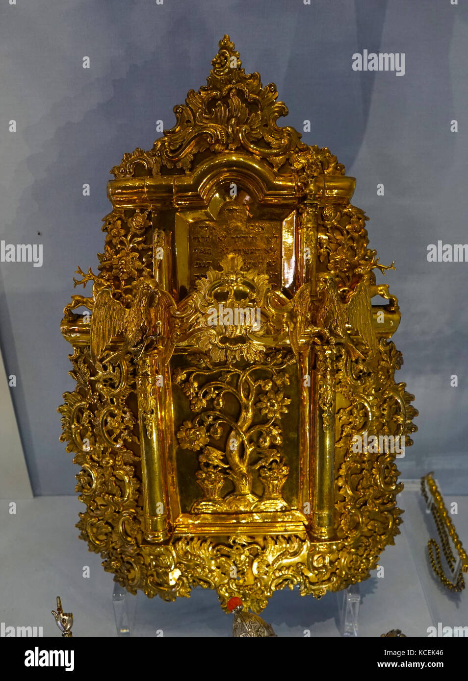 Silver gilt Torah shield and pointer. The Tree of Life is depicted in the central panel. Dated 18th Century Stock Photo