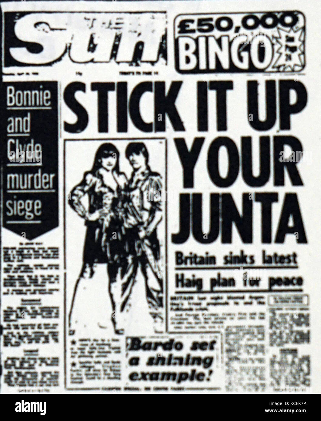 Front page of the Sun reporting on the sinking of the ARA General Belgrano during the Falklands War. Dated 20th - Stock Image