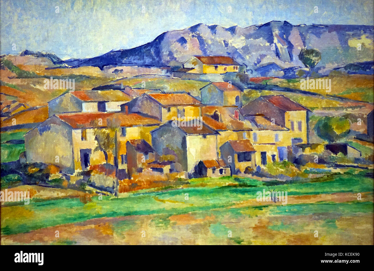 Painting titled 'Hamlet at Payannet, near Gardanne; by Paul Cézanne (1839-1906) a French Post-Impressionist - Stock Image
