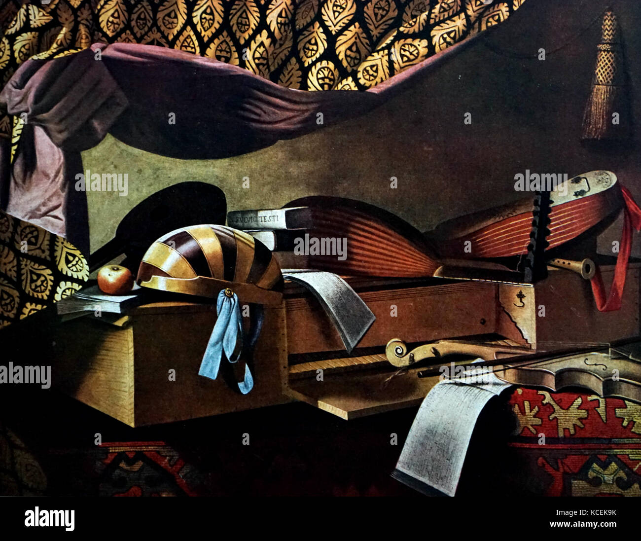 Painting titled 'Instruments de musique' by Evaristo Baschenis (1617-1677) an Italian Baroque painter. Dated - Stock Image