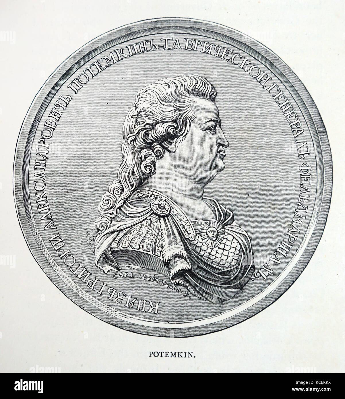Portrait of Grigory Potemkin (1739-1791) a Russian military leader, statesman and nobleman. Dated 18th Century - Stock Image