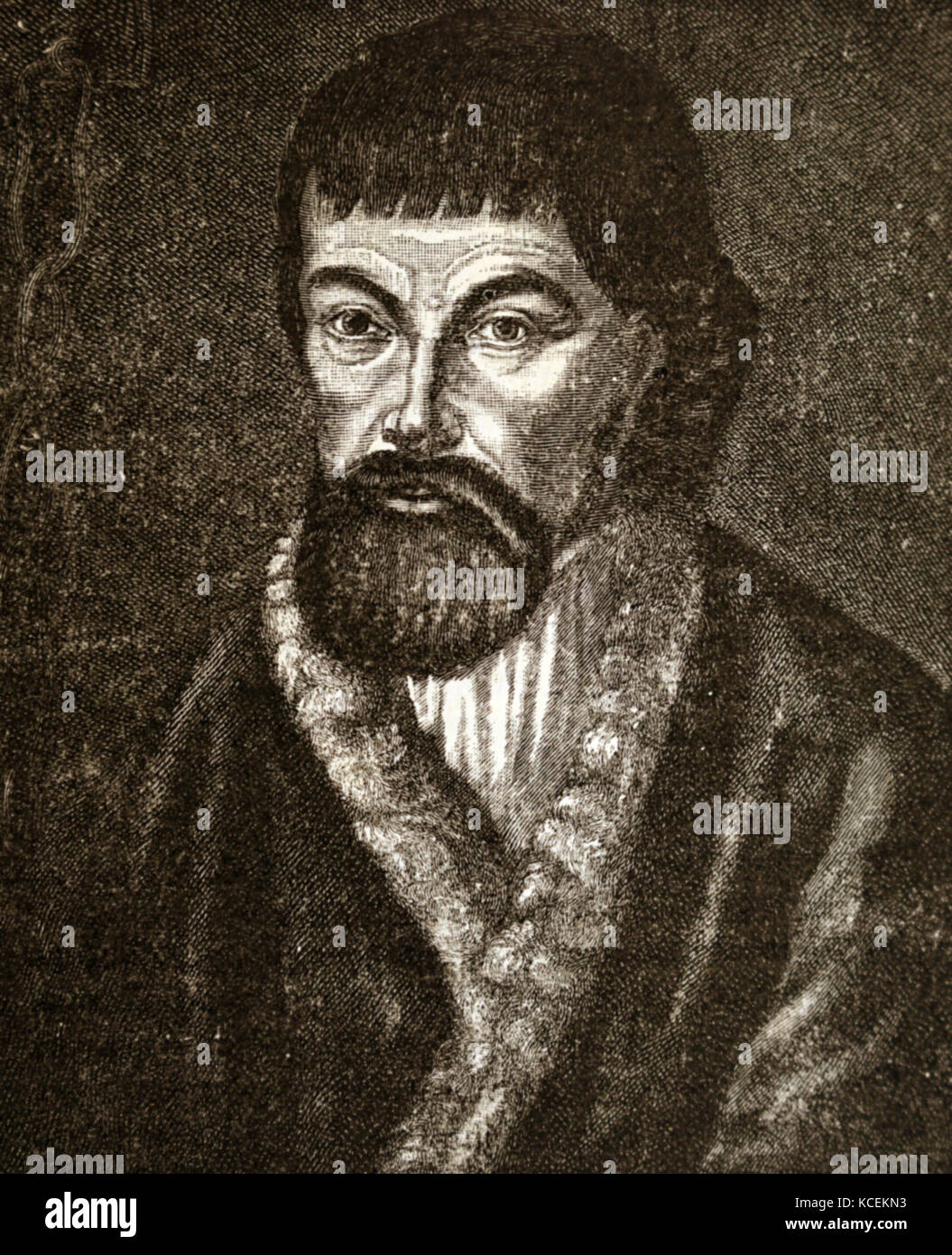 Engraved portrait of Yemelyan Pugachev (1742-1775) a pretender to the Russian throne. Dated 18th Century - Stock Image