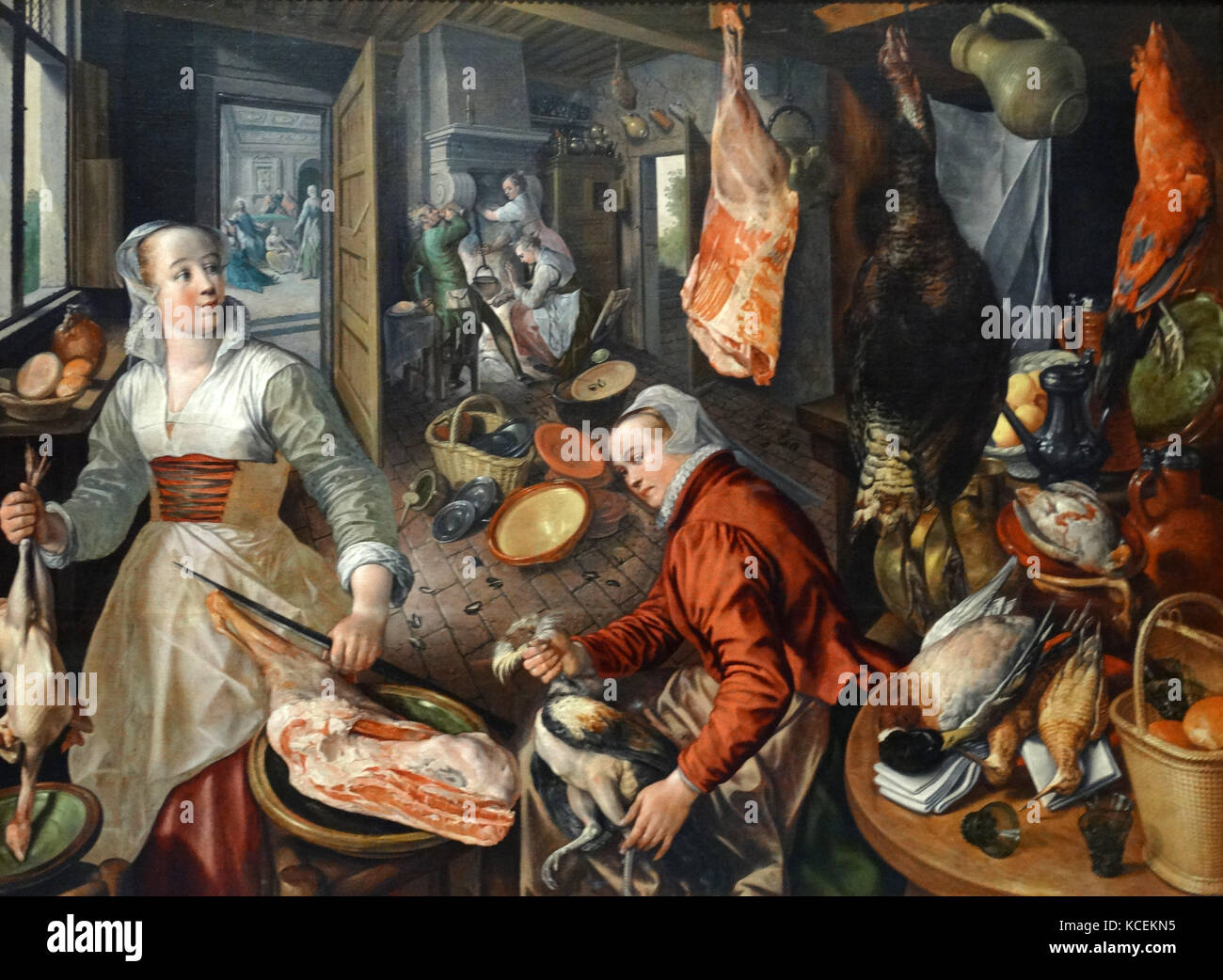 Painting titled 'The Four Elements: Fire' by Joachim Beuckelaer (1533-1574) a Flemish painter. Dated 16th - Stock Image