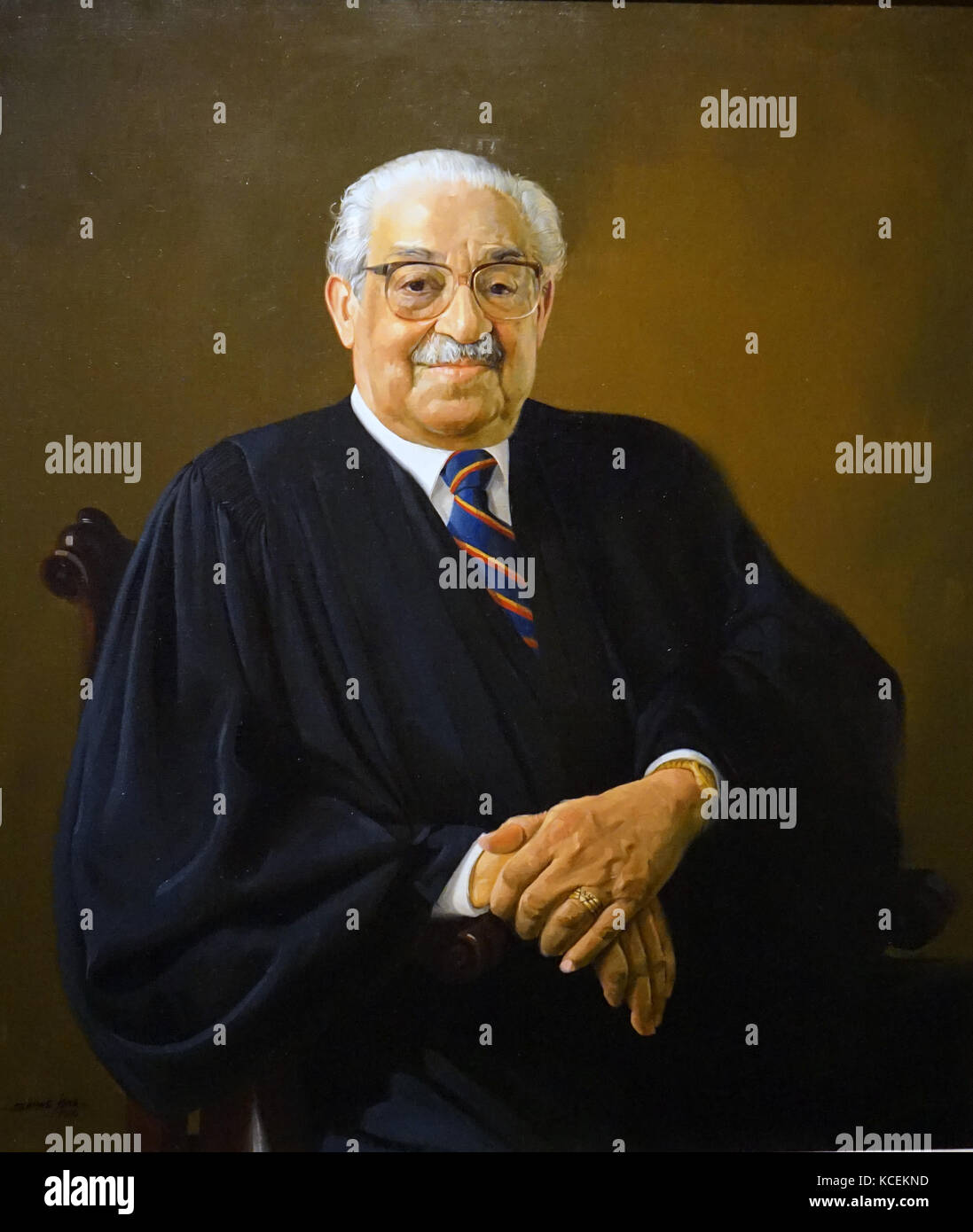 Portrait of Thurgood Marshall (1908-1993) an Associate Justice of the Supreme Court. Painted by Simmie L. Knox (1935 - Stock Image