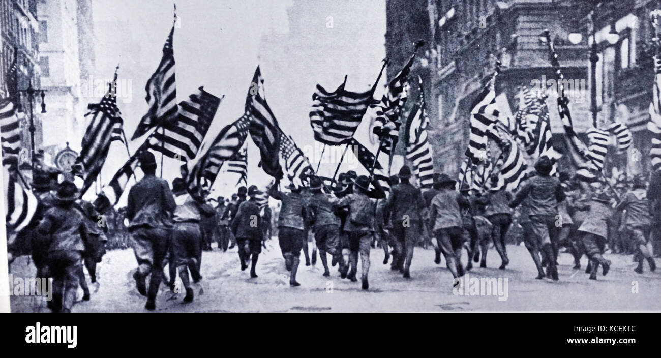 Photograph of the American Flags Stars and Stripes march parade along Fifth Avenue, New York. Dated 20th Century - Stock Image