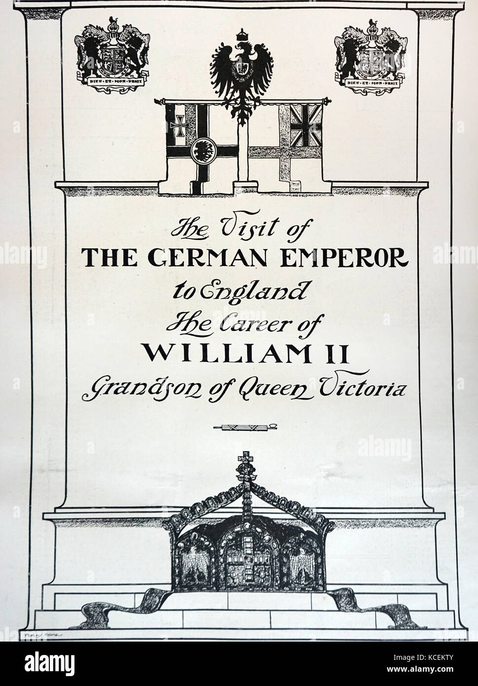 Title page of a programme commemorating a visit by Kaiser Wilhelm II (1859-1941) King of Prussia, to England for - Stock Image