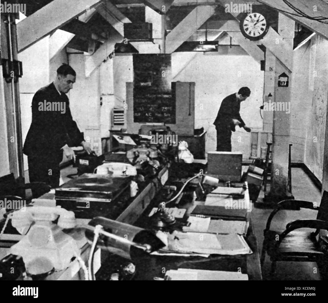Photograph taken from within the War Cabinet's bomb-proof underground headquarters. Dated 20th Century Stock Photo