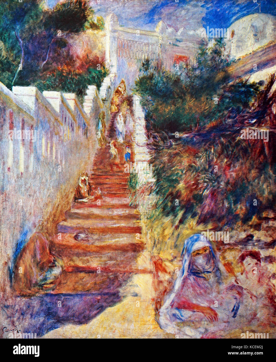 Painting titled 'The Stairway, Algiers' by Pierre-Auguste Renoir (1841-1919) a French artist of the Impressionist - Stock Image