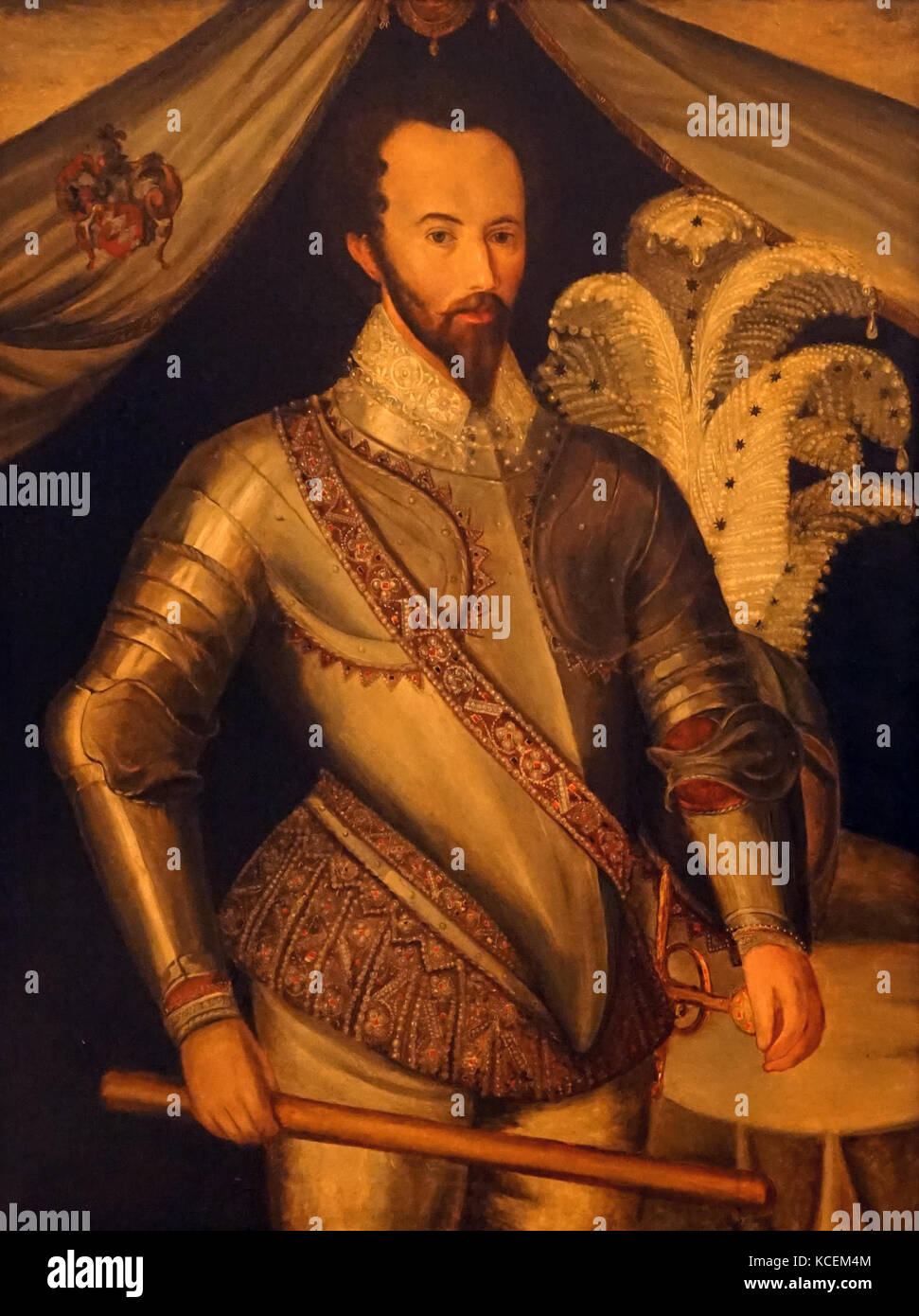 Portrait of Sir Walter Raleigh (1554-1618) an English landed gentleman, writer, poet, soldier, politician, courtier, - Stock Image