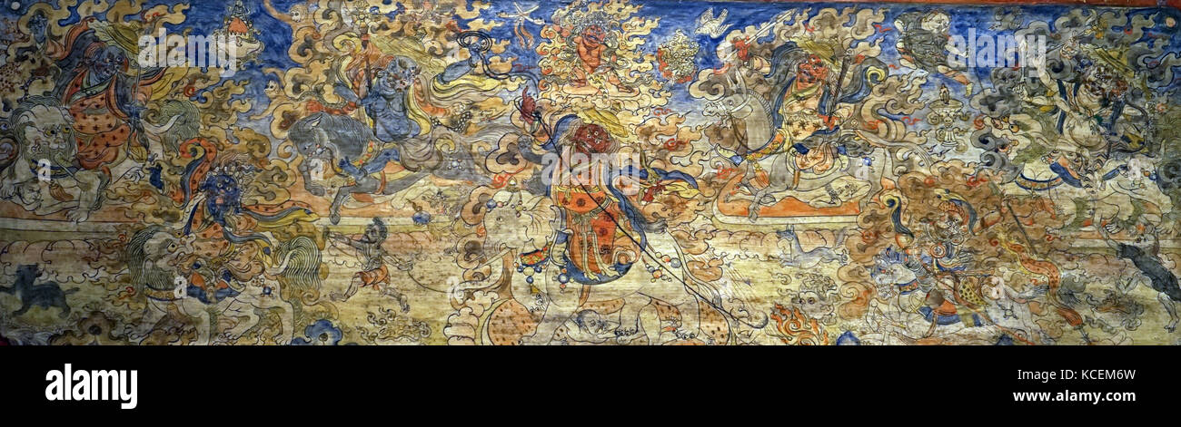 Protector deities of the Tibetan Government and Buddhism. Dated 20th Century - Stock Image