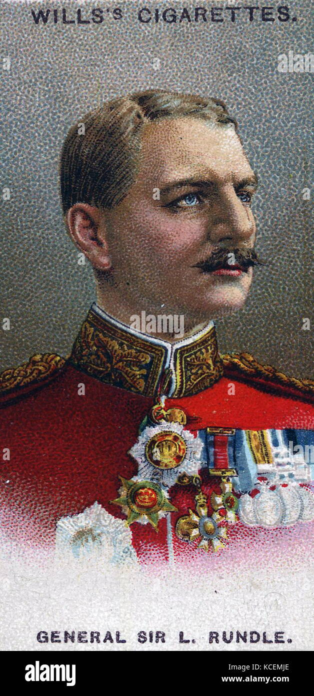 Leslie Rundle (b.1856). Governor and Commander-in-Chief, Malta (1909-14). Chromolithographic card 1917 - Stock Image