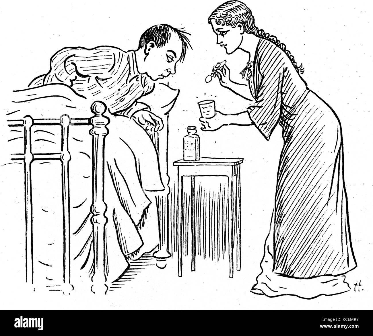 Sir Ralph Richardson (1902-83), British actor. Cartoon of Richardson as John MacGregor and Sophie Stewart as his - Stock Image