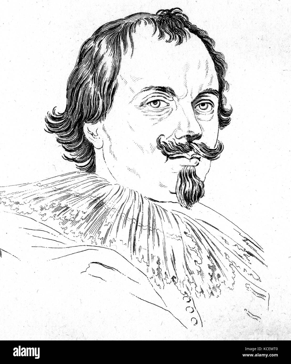 17th century drawing of a man after Van Dyck - Stock Image