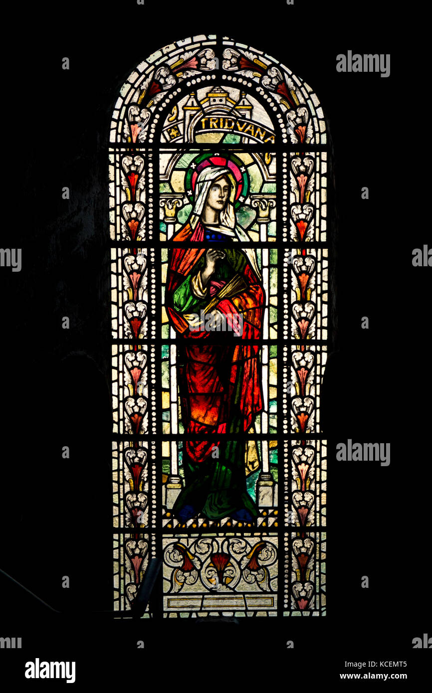 Stained glass window in St Magnus Cathedral, Orkney - Stock Image