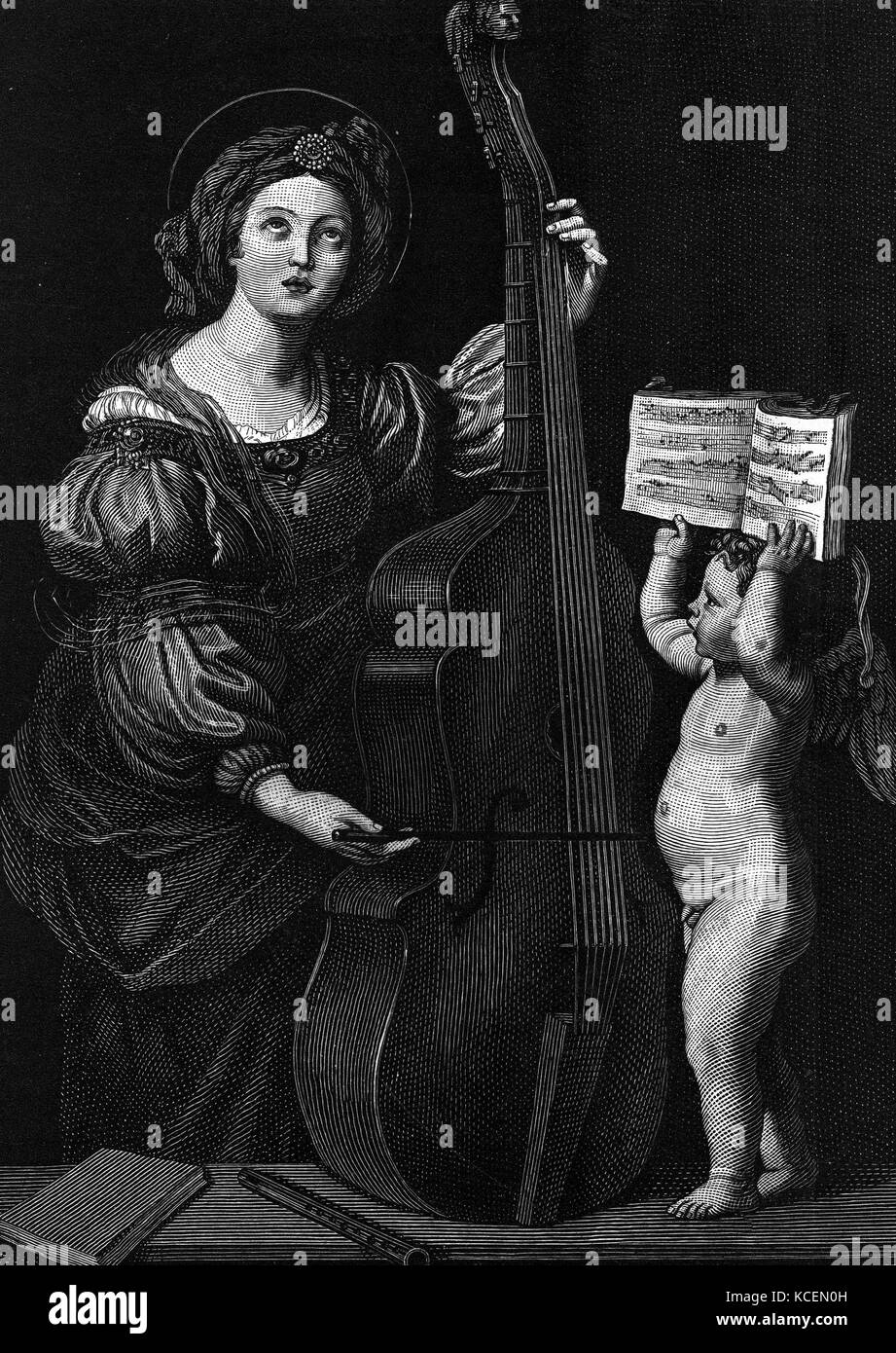Saint Cecilia, the patroness of musicians. - Stock Image