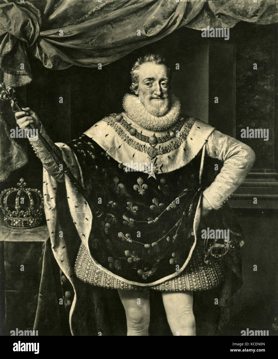 Portrait of Henry IV, King of France, painting by unknown - Stock Image