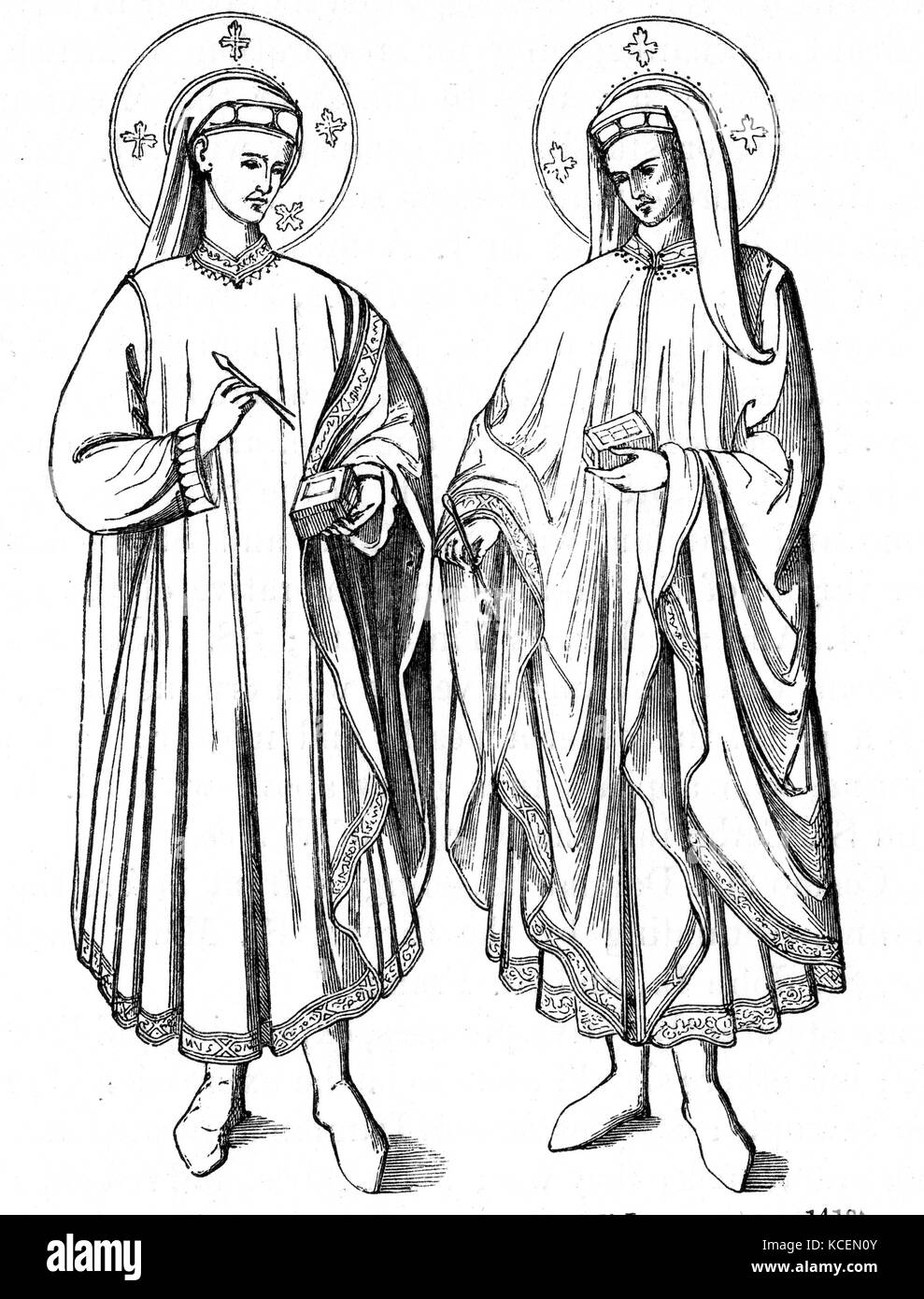 Saints Cosmas and Damian, both died c.?ad 287. twin brothers, physicians, and early Christian martyrs. They practiced - Stock Image