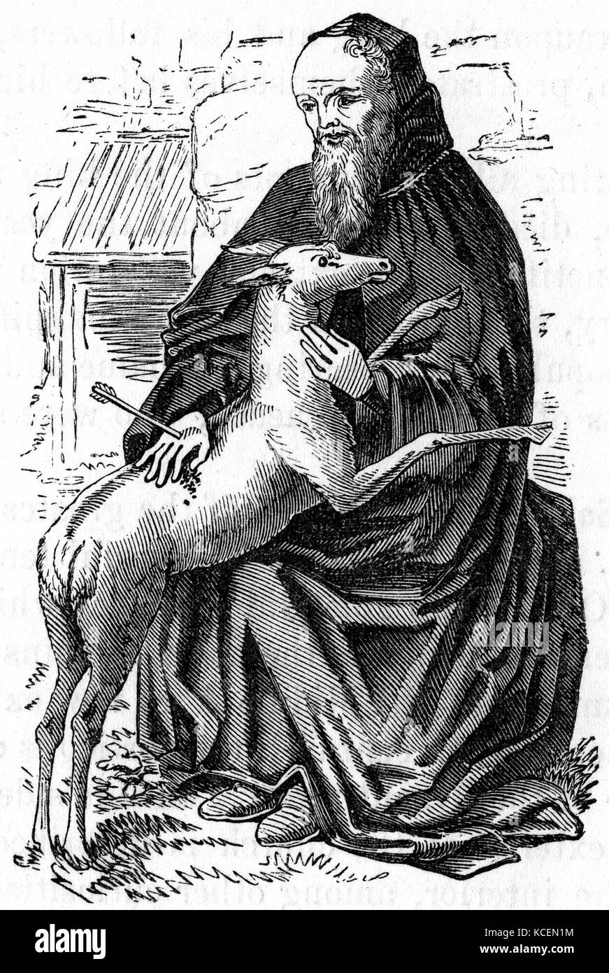 Saint Giles (650 AD – c. 710), also known as Giles the Hermit, was a Greek, Christian, hermit saint from Athens, - Stock Image