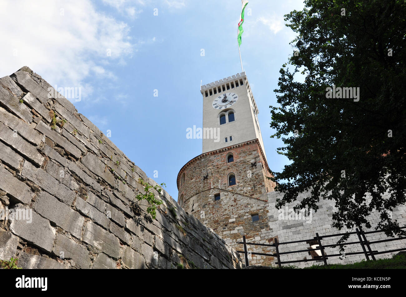 ljubljana castle tower from below - Stock Image