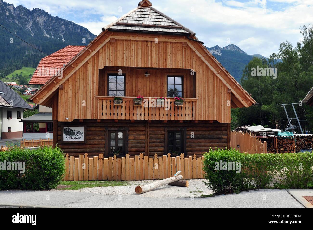 Wooden mountain ski house, mountain retreat, mountain vacation - Stock Image