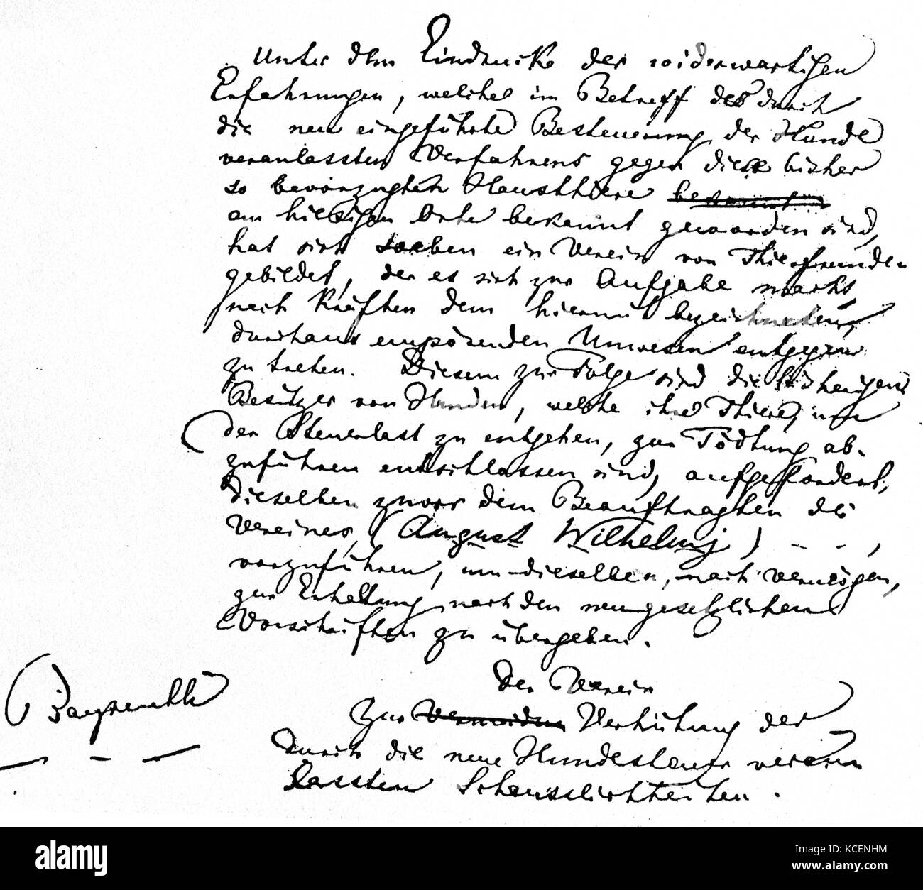 A letter to King Ludwig II of Bavaria (1845-1886) from Wilhelm Richard Wagner (1813-1883) a German composer. Dated - Stock Image