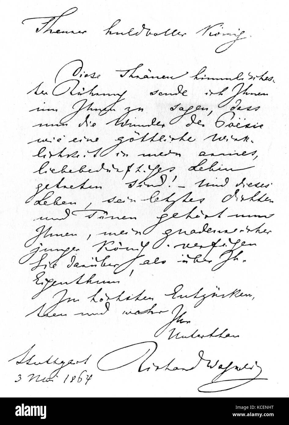 The first letter to King Ludwig II of Bavaria (1845-1886) from Wilhelm Richard Wagner (1813-1883) a German composer. - Stock Image