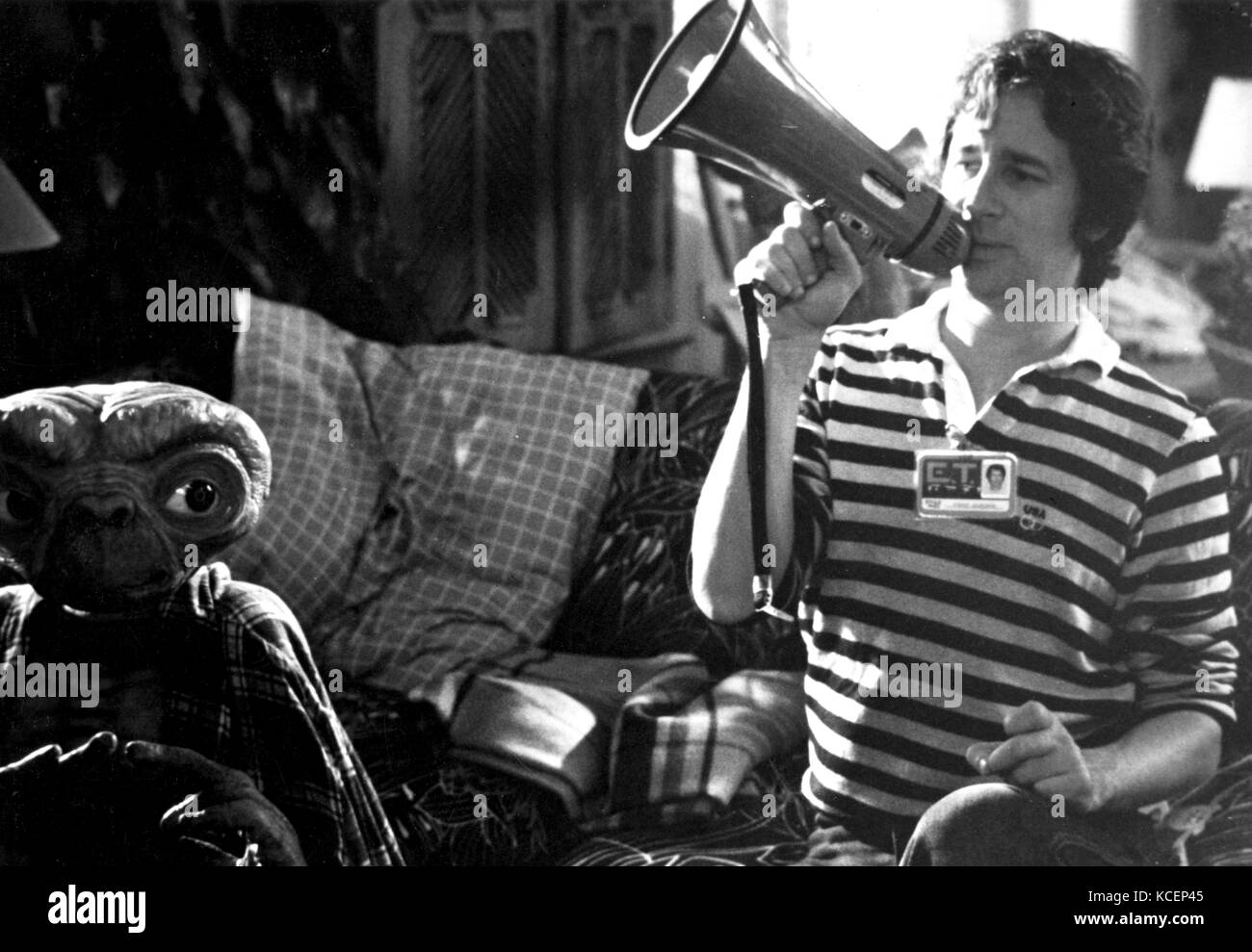 Photograph of Steven Spielberg (1946-) an American director, producer, and screenwriter, during the filming of E.T. - Stock Image