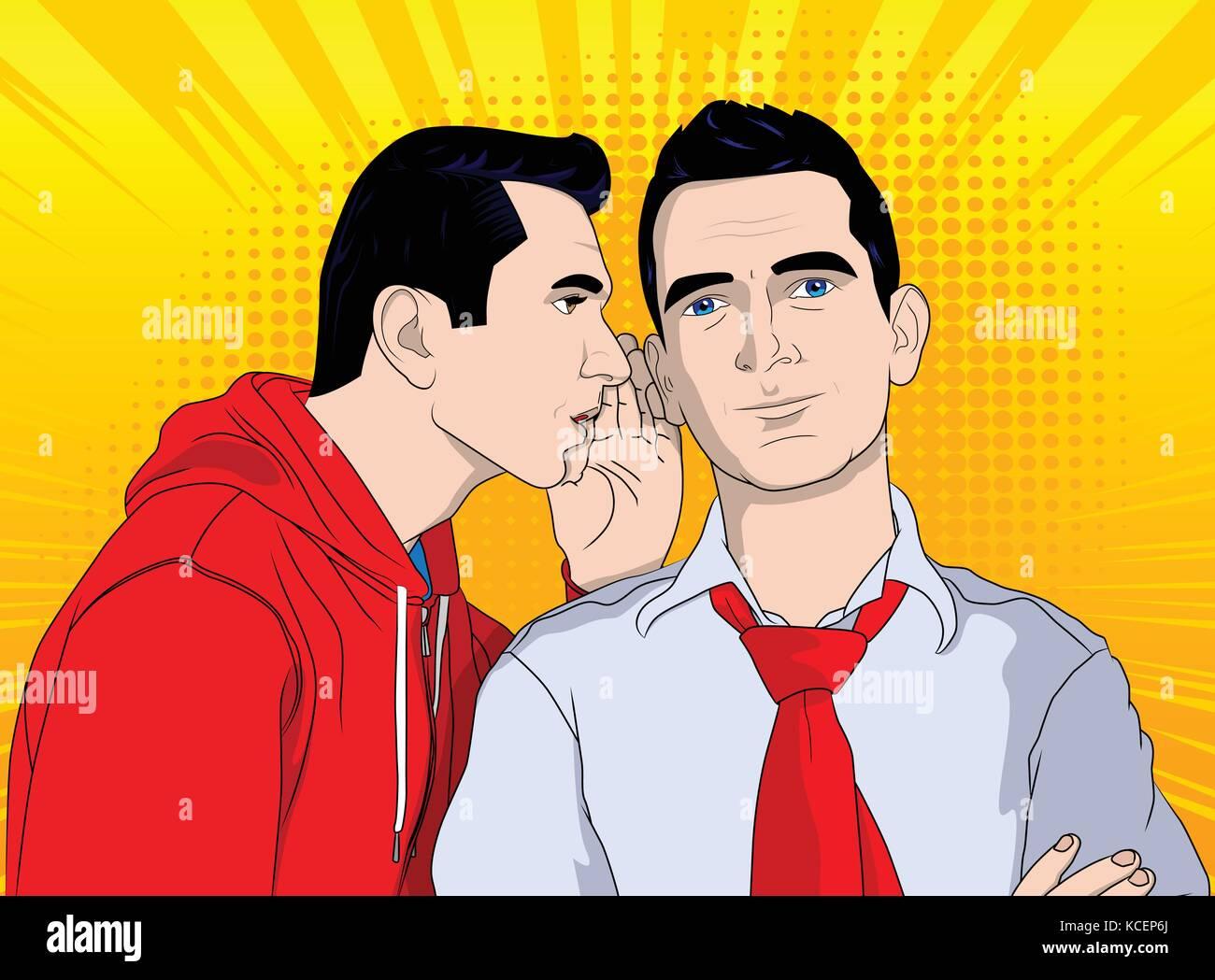 Business men gossiping. Vector pop art, retro comic book style illustration. - Stock Vector