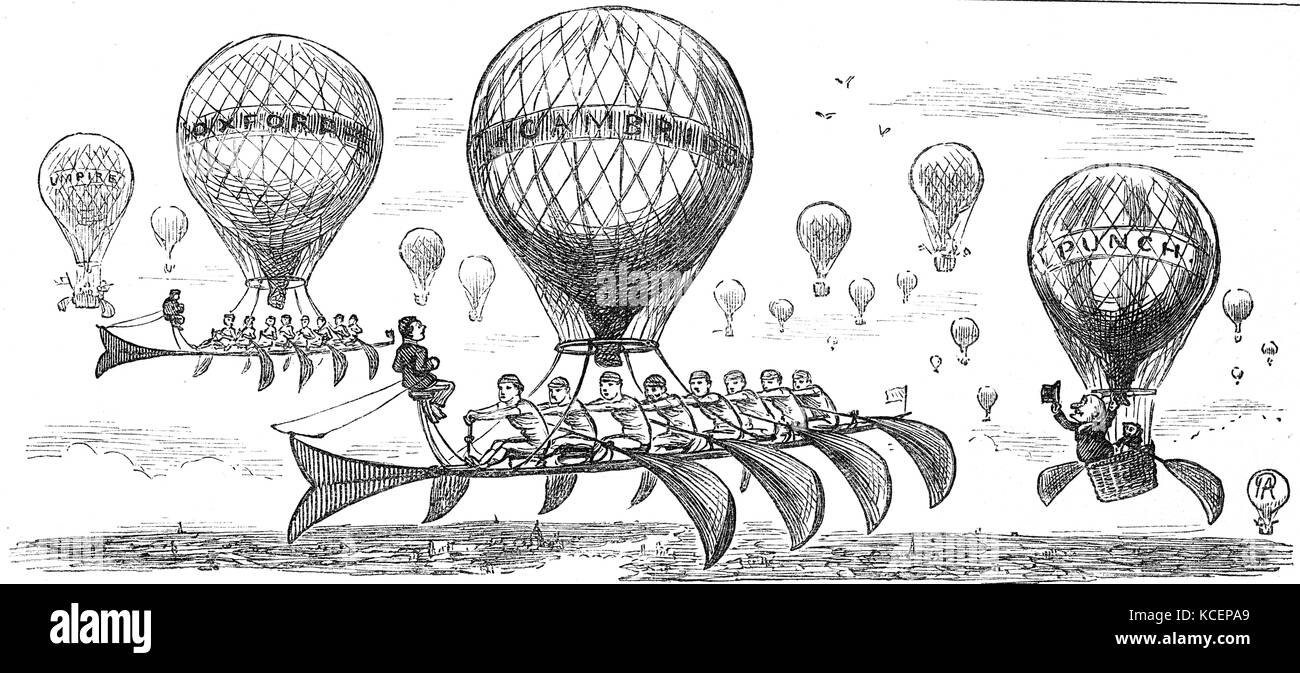 Punch cartoon depicting a flying balloon version of the Oxford & Cambridge boat race 1888 - Stock Image