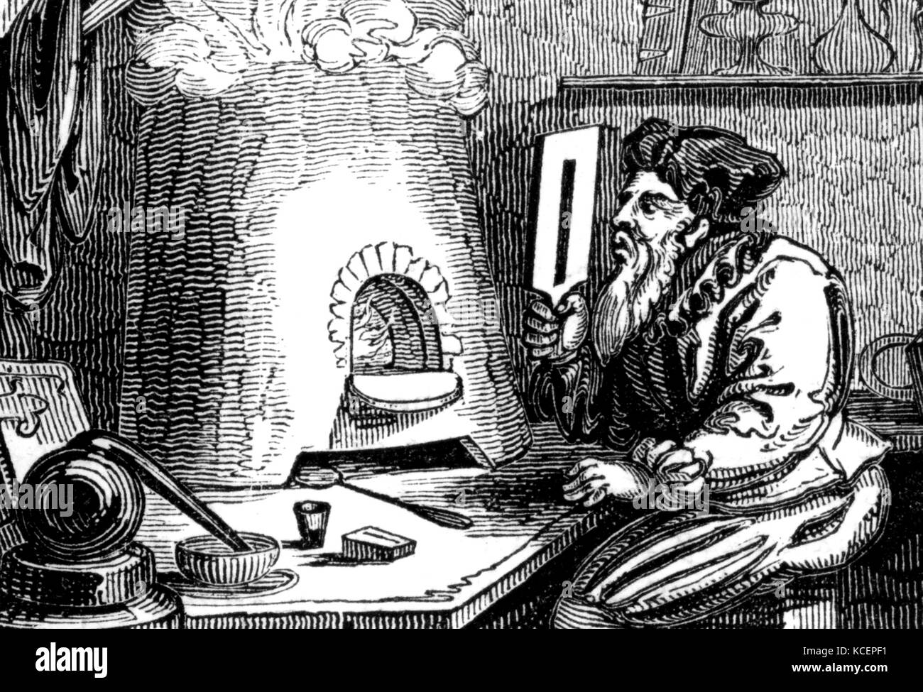 Engraving titled 'An Alchemist' which is possibly Basil Valentine (1394-1450) an alchemist, author and possibly - Stock Image