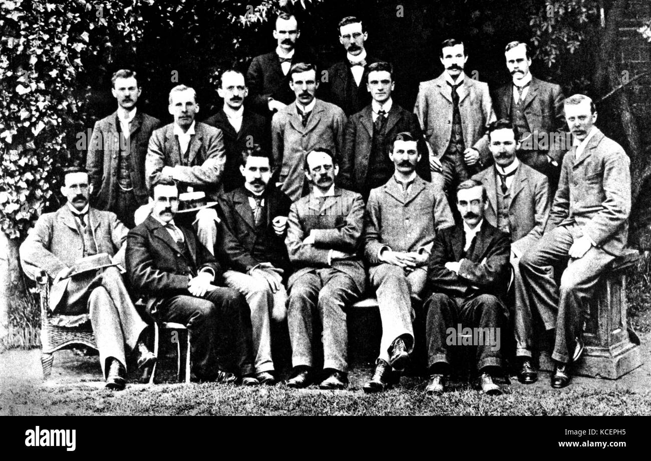 Photograph of J. J. Thompson (1856-1940) and other Cavendish Laboratory research students. Dated 19th Century Stock Photo