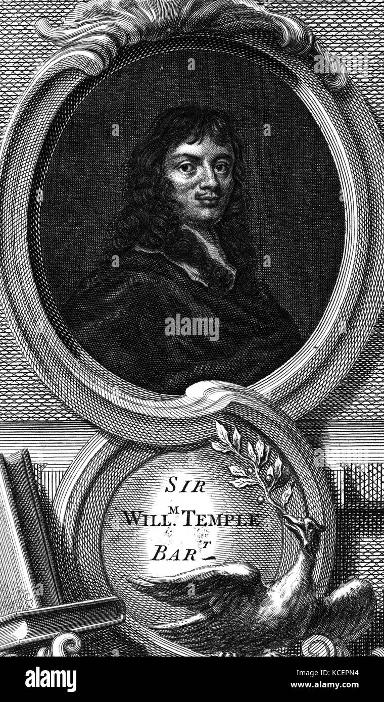 Portrait of Sir William Temple, 1st Baronet (1628-1699) an English statesman and essayist. Dated 17th Century - Stock Image