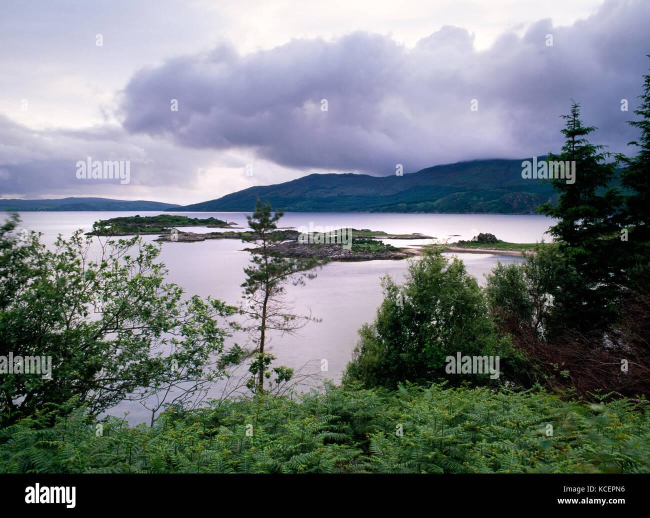 View from track down to Sandaig cottage, near Glen Elg, Lochalsh, Scotland. Eileen More & Loch Dal in foreground, Stock Photo
