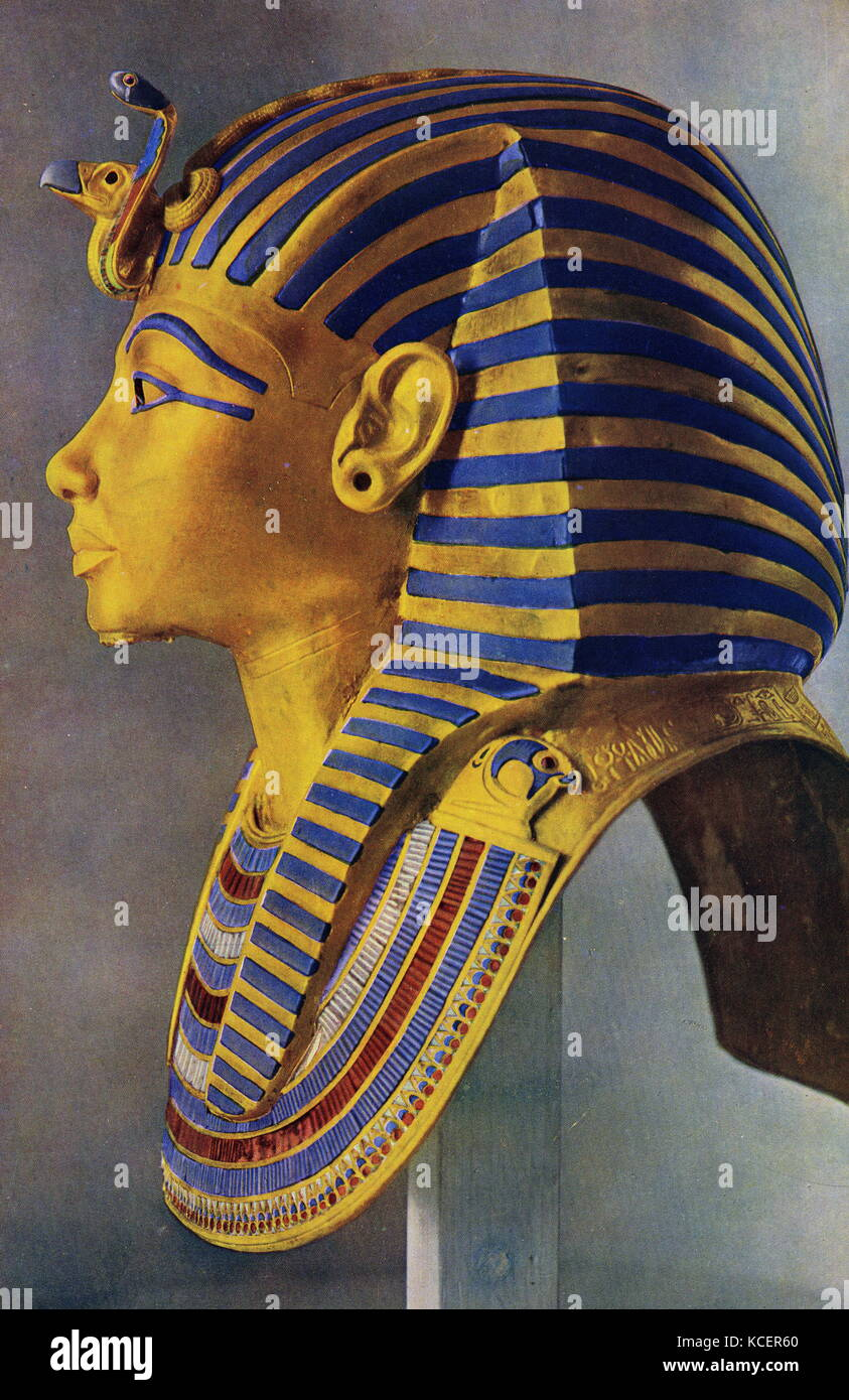 The Death Mask of Tutankhamun, an Egyptian pharaoh of the 18th Dynasty during the New Kingdom. - Stock Image